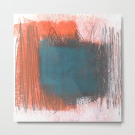 Orange and Blue Square Abstract Metal Print