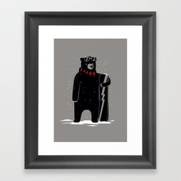 Bear on snowboard Framed Art Print