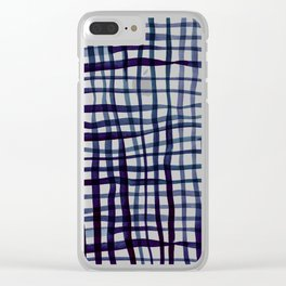 Watercolor doodle gingham - indigo Clear iPhone Case