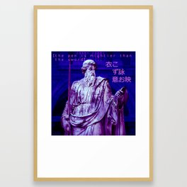 Vaporwave quote statue The pen is mightier than the sword Framed Art Print