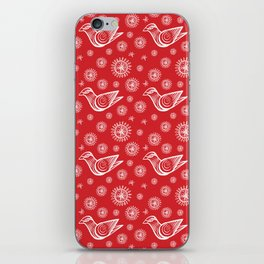 Holiday Bird with Snowflakes and Starbursts iPhone Skin
