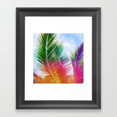 Neon Rainbow palm Framed Art Print