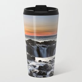 Thor's Well Sunset at Cape Perpetua, Oregon Travel Mug