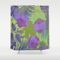 hawaiian Shower Curtains featuring Hawaiian Purple by ALLY COXON