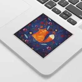 The Smart Fox in Flower Garden Sticker