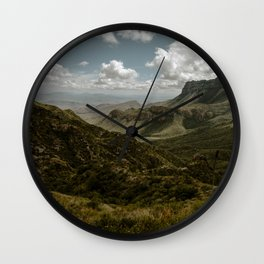 Cloudy Vibrant Mountaintop View in Big Bend - Lost Mine Trail Wall Clock