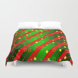 Holiday Season Stars and Stripes  Duvet Cover