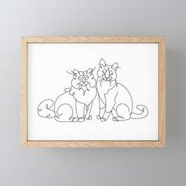 Cats line art Framed Mini Art Print