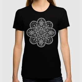 Floral Doily Pattern | Grey and White T-shirt