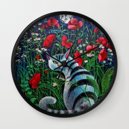 Cat in the Night Wall Clock