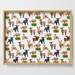 Christmas goats in sweaters repeating seamless pattern Serving Tray