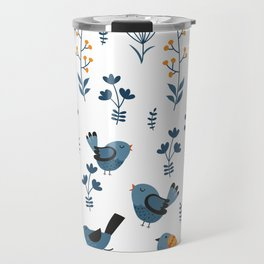 Modern Birds Pattern Travel Mug