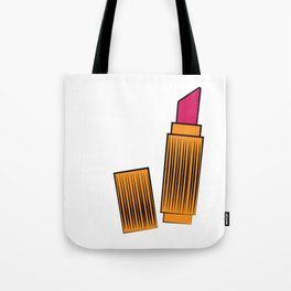 Gold and coral lipstick Tote Bag