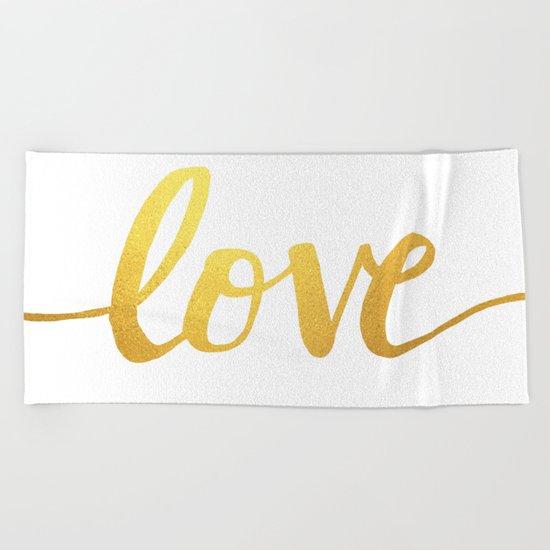Love Gold Beach Towel