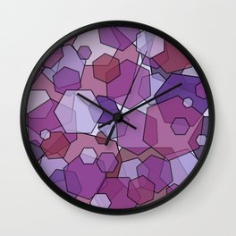 Converging Hexes - Mauve Pink and Purples Wall Clock