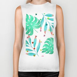 Tropical dots and leaves Biker Tank