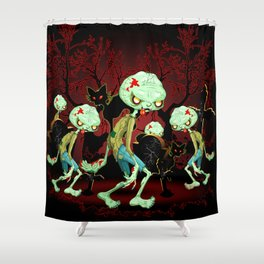 Zombie Creepy Monster Cartoon on Cemetery Shower Curtain