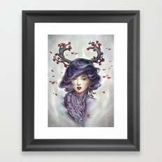 Woman with Antlers Framed Art Print