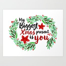 Merry Christmas Xmas Eve Holiday Season Santa Claus Navidad Regalo Present Gift Loved One Art Print