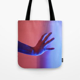 Human body part hand wrist fingers blue red neon fluorescent lights Tote Bag