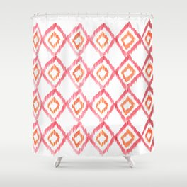 Fiery Coral - aztec watercolour pattern Shower Curtain
