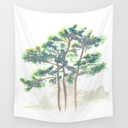 Northern Michigan Watercolor Pine Trees Wall Tapestry