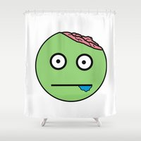 zombie Shower Curtains featuring Zombie by Vreckovka