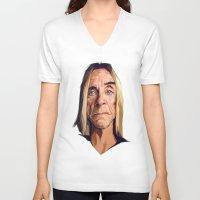 iggy V-neck T-shirts featuring Mr. Iggy Pop by Viktor Miller Gausa