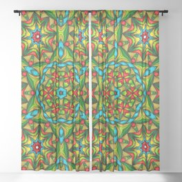 Stained Glass Mandala Sheer Curtain