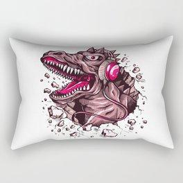 Dino with Headphones Puce Rectangular Pillow