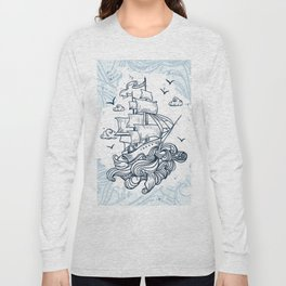 Hand drawn boat with waves background Long Sleeve T-shirt