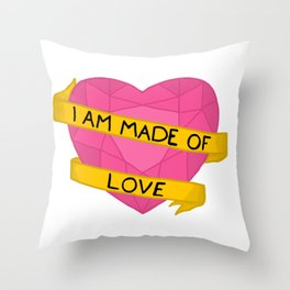 I am made of love crystal heart Throw Pillow