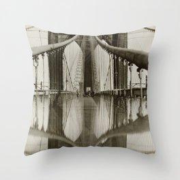Brooklyn Bridge Black and White Photograph Throw Pillow