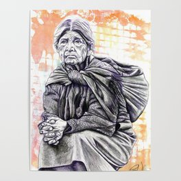 Old Lady Sitting Poster