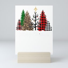 Merry Christams Mixed Pattern Christmas Trees Leopard Print Buffalo Plaid Mini Art Print