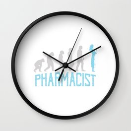 Evolution Silhouette Medicine Doctor's Prescription Pharmacy Healthcare Pharmacist T-shirt Design Wall Clock