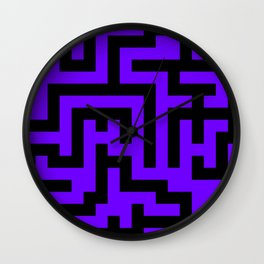 Black and Indigo Violet Labyrinth Wall Clock