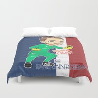 kevin russ Duvet Covers featuring Kevin the Goalkeeper by Aramis