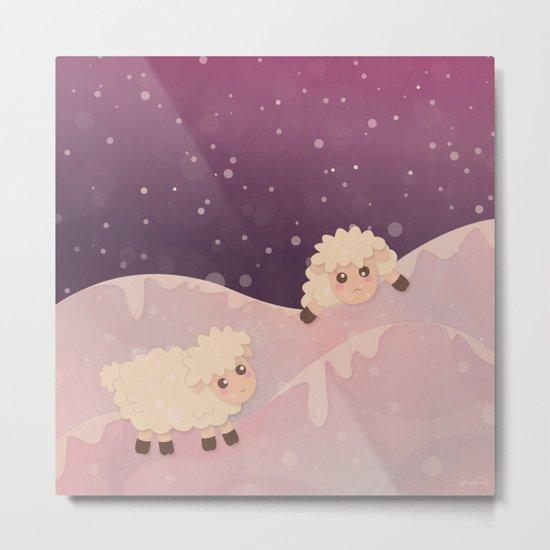 Cartoon Baby Sheep, Red Violet Snowy Bokeh Background Metal Print
