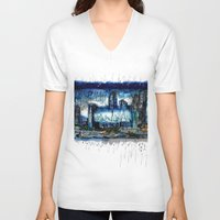 singapore V-neck T-shirts featuring Singapore  by sladja