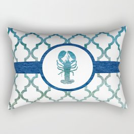 Lobster: Tropical Water Moroccan Pattern Rectangular Pillow