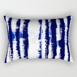 Tie-Dye Shibori Stripe Blue Rectangular Pillow