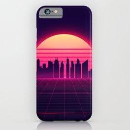 Retro Vaporwave City Skyline iPhone Case