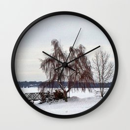 Weeping Willow on the Frozen Lake Wall Clock