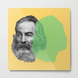 Walt Whitman portrait yellow green Metal Print