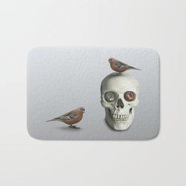 Skull & bird, watercolor Bath Mat