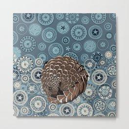 pangolin mandala slate Metal Print