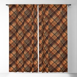Black and orange tartan. Blackout Curtain