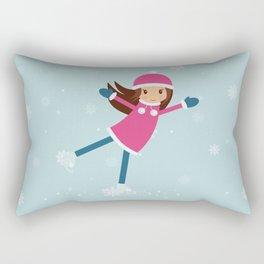 Little girl on skating rink Rectangular Pillow