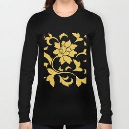 Oriental Flower - Mustard Yellow On White Background Long Sleeve T-shirt